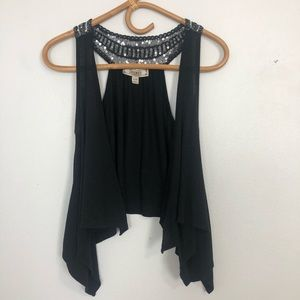 Decree Flowy Vest Black With Sequins | Size Small